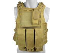 ROYAL TACTICAL VEST PROFESSIONALE CON 6 TASCHE TAN