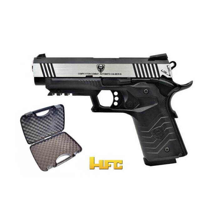 HFC 1911 TACTICAL PISTOL FULL METAL SCARRELLANTE  BLACK/SILVER